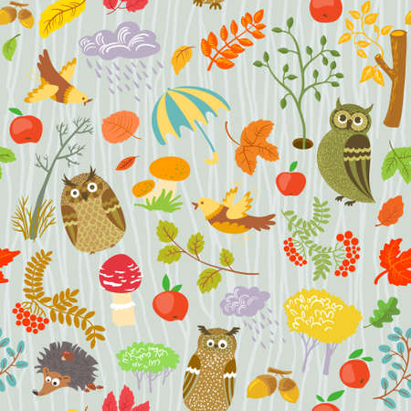 Autumn seamless pattern with owls Vector
