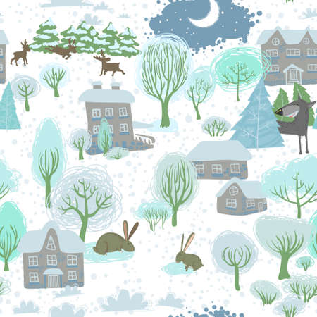 Christmas cute winter pattern with rabbits Vector