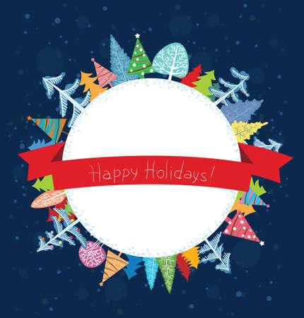 holidays: Happy Holidays wishes card Illustration