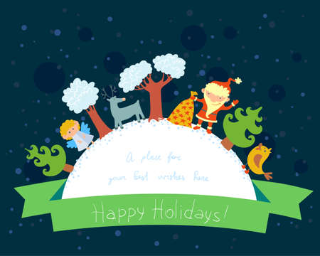 Cute Christmas frame for wishes text Vector