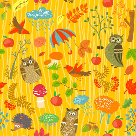 rowan: Cute autumn seamless background with owls