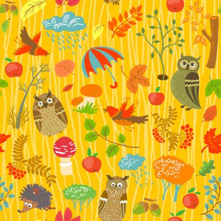 Vogelbeere: Nette Herbst nahtlose Hintergrund mit Eulen