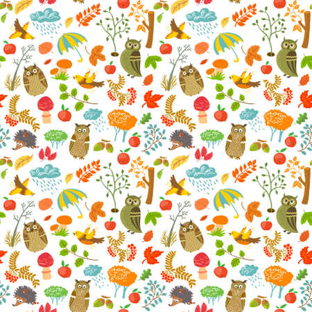 Cute autumn seamless pattern with owls Vector