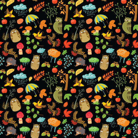 Cute autumn seamless background with owls Vector