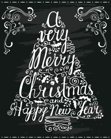 merry christmas banner: Christmas and New Year greeting lettering on chalkboard