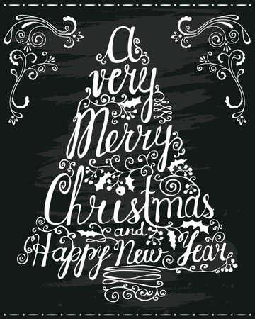 christmas design: Kerstmis en Nieuwjaar begroeting belettering op bord