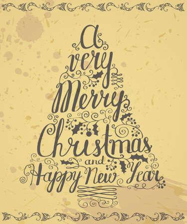 Grunge retro Christmas lettering poster Vector