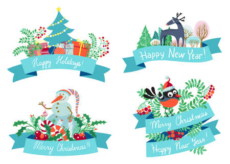New year and Christmas design elements  Vector