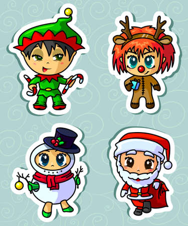 Cute Christmas characters stickers set Vector