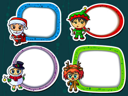 Christmas stickers wirh cute characters Vector
