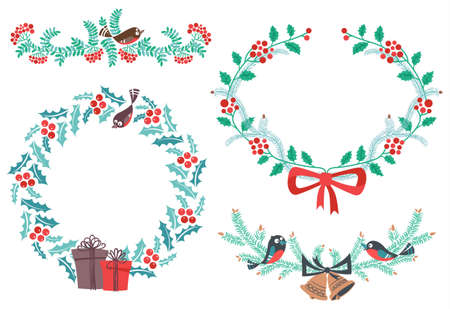 Cute  New Yaer and Christmas design elements Vector