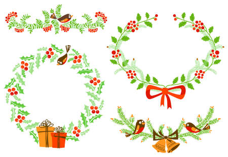 Cute  New Year and Christmas design elements Vector