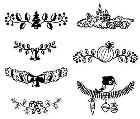Black and white Christmas design elements Vector