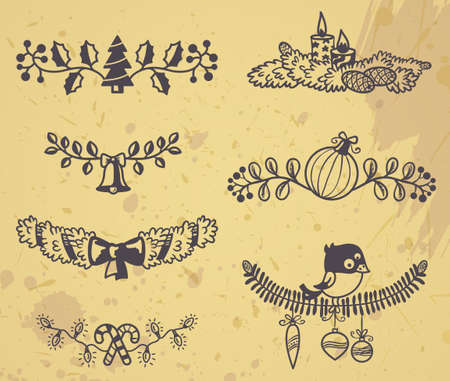 Grange Christmas design elements Vector
