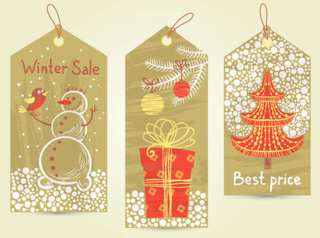 Cute Christmas vintage tags set Vector
