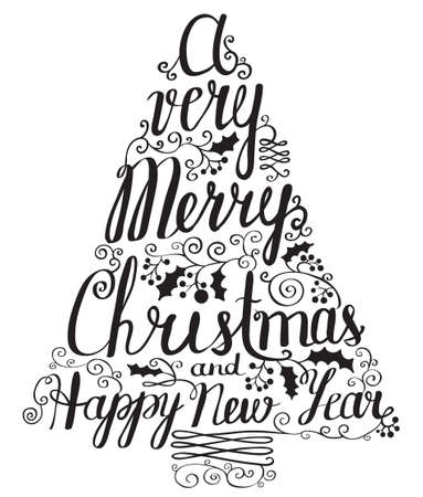 silhoette: Calligraphy lettering Christmas tree