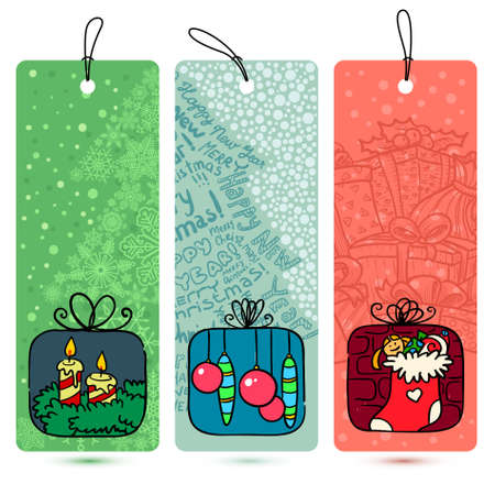 stoking: Cute Christmas doodle tags set