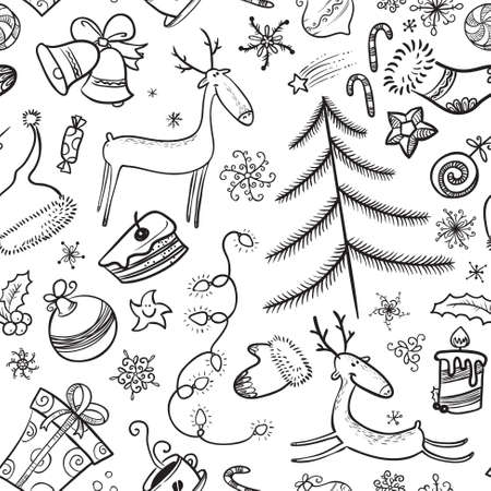Black and white Christmas seamless background