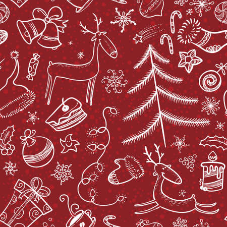 Sketchy Christmas seamless pattern with deers Vector