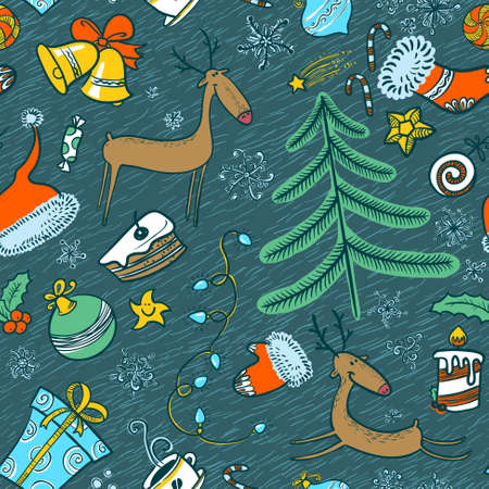 Cute doodle Christmas seamless background Vector