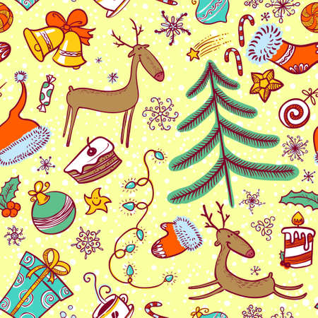 Doodle Christmas seamless pattern with deers Vector