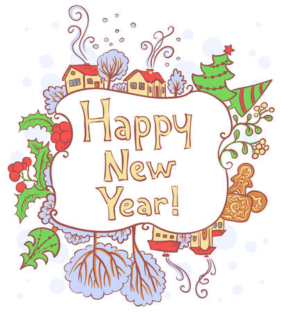 Christmas and New Year doodle border Vector