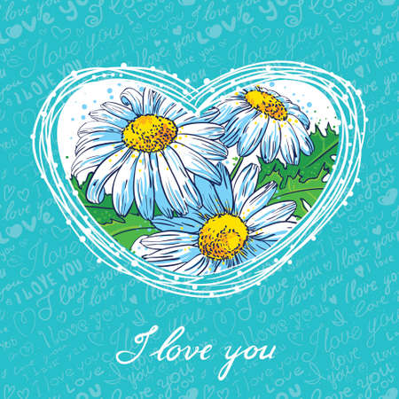 Valentine's Day card with floral heart Vector