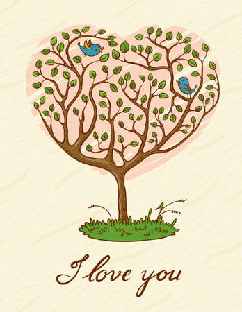 birds  silhouette: Romantic card with two birds on the tree