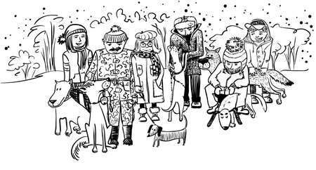 owners: Doodle with dog owners and dogs
