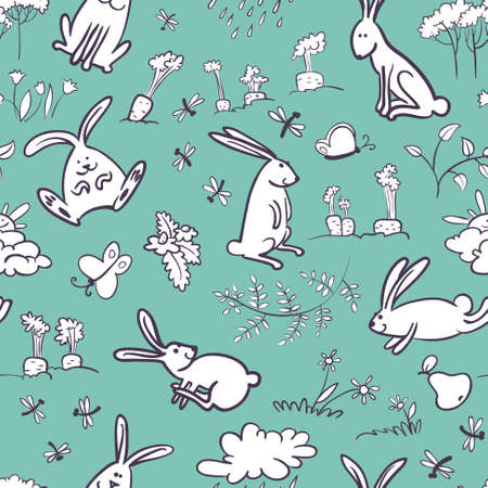 Doodle seamless pattern with rabbits Vector