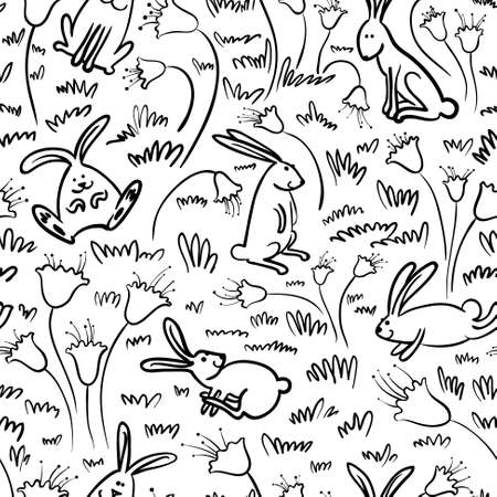 Black and white doodle seamless pattern with rabbits Vector