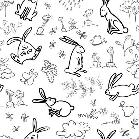 Black and white seamless with rabbits Vector