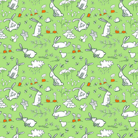 Cute seamless background with bunnies Vector