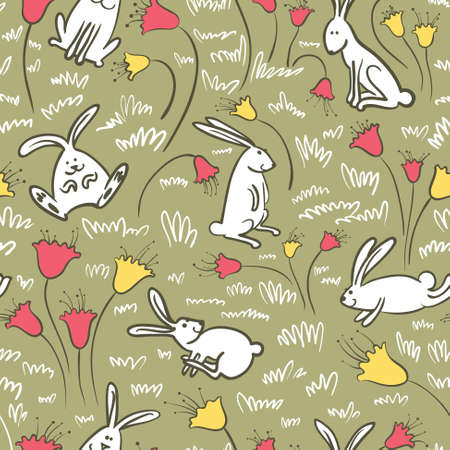 Seamless background with bunnies and flowers Vector