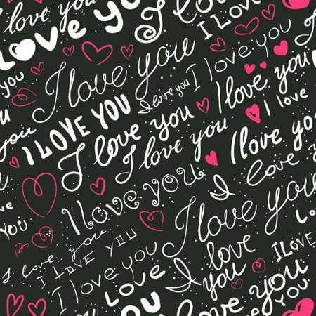 Doodle lettering love seamless background 向量圖像