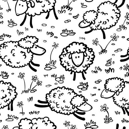 Black and white doodle seamless with sheeps  Vector