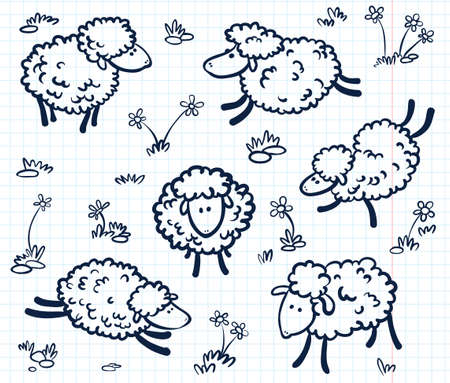 summer cartoon: Hand drawn doodle with sheeps