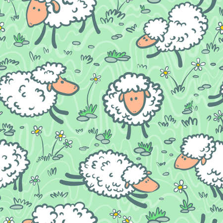 Cute doodle seamless pattern with sheeps  Vector