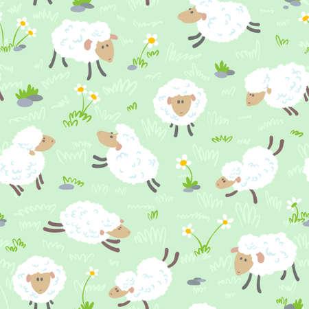 Cute cartoon seamless pattern with sheeps
