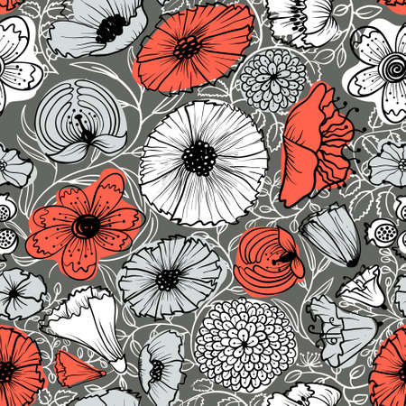 Abstract floral seamless background Ilustracja