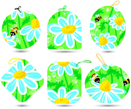 Tags set with bees and camomile Vector