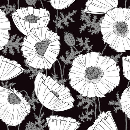 Seamless pattern with poppies flower Vector