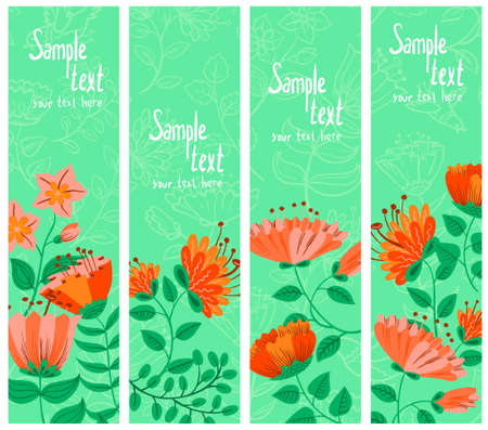 Floral spring abstract banners set Vector