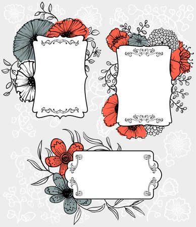 Spring flowers labels (tags) set  Vector