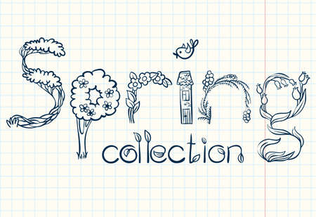 Spring collection doodle hand-drawn lettering Vector