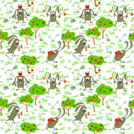 Seamless background with bunnies and apples Vector