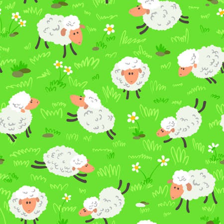 Cute cartoon seamless pattern with sheeps  Vector