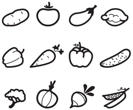 Set with Food Icons (vegetables) Vector