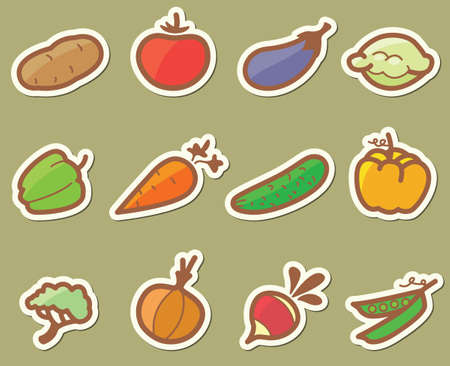 bush pepper: Set with vegetables icons (stickers)
