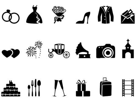 suitcases: Set of minimalistic wedding icons